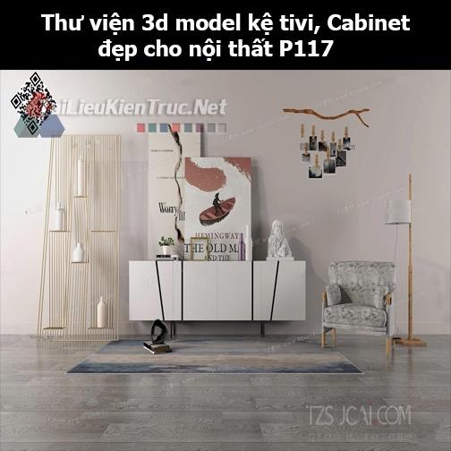 Thư viện 3d model Kệ tivi, Cabinet đẹp cho nội thất P117