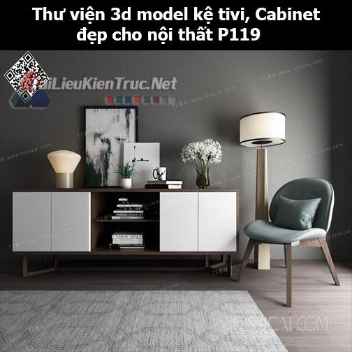Thư viện 3d model Kệ tivi, Cabinet đẹp cho nội thất P119
