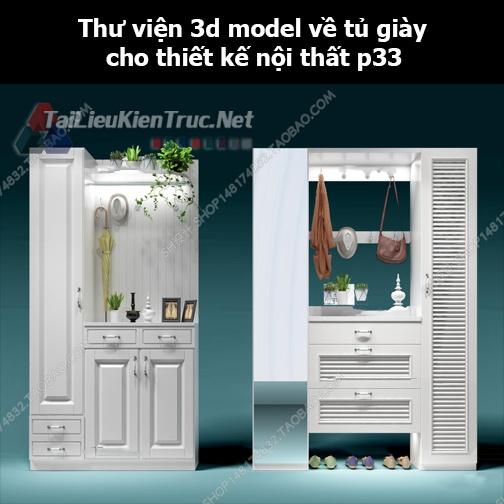 Thư viện 3d model về tủ giày cho thiết kế nội thất p33