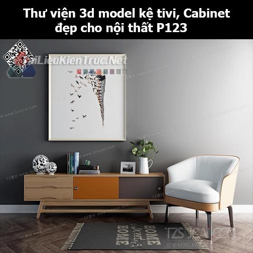 Thư viện 3d model Kệ tivi, Cabinet đẹp cho nội thất P123