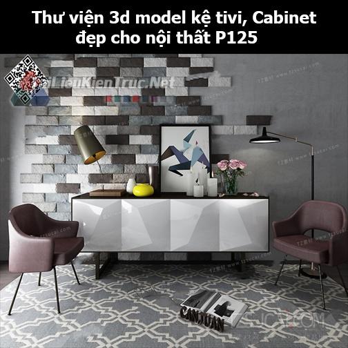 Thư viện 3d model Kệ tivi, Cabinet đẹp cho nội thất P125