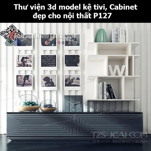 Thư viện 3d model Kệ tivi, Cabinet đẹp cho nội thất P127
