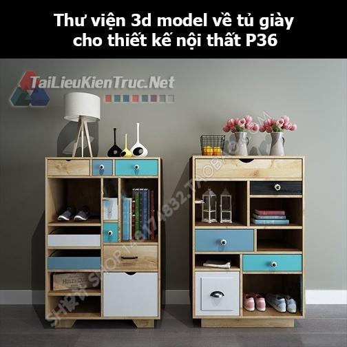 Thư viện 3d model về tủ giày cho thiết kế nội thất p36