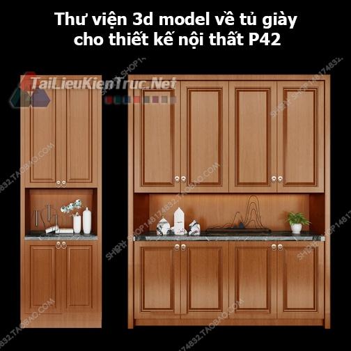 Thư viện 3d model về tủ giày cho thiết kế nội thất p42