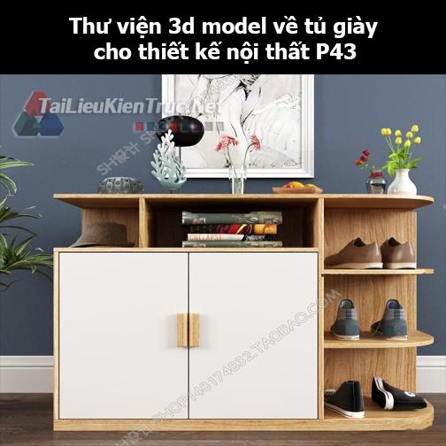 Thư viện 3d model về tủ giày cho thiết kế nội thất p43