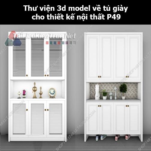 Thư viện 3d model về tủ giày cho thiết kế nội thất p49