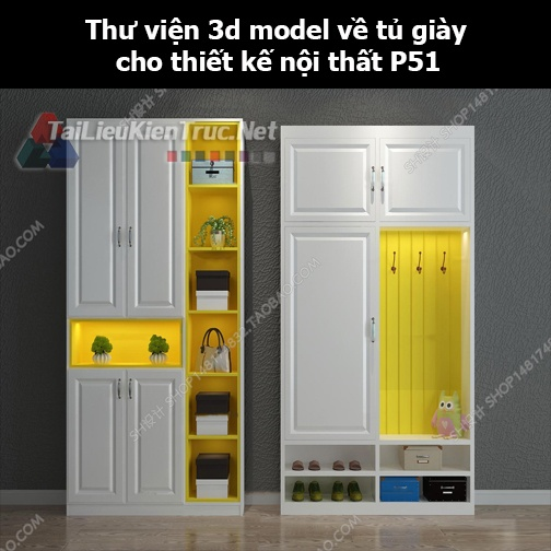 Thư viện 3d model về tủ giày cho thiết kế nội thất p51