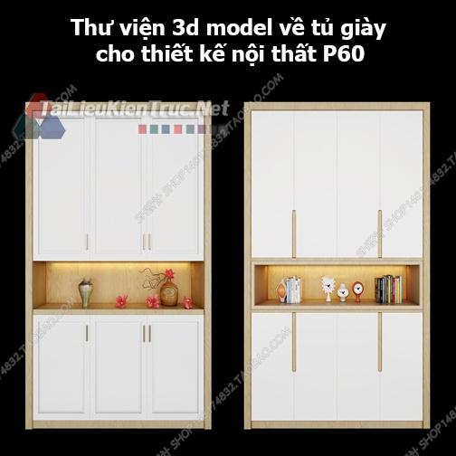 Thư viện 3d model về tủ giày cho thiết kế nội thất p60