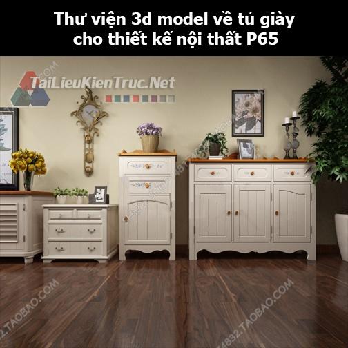 Thư viện 3d model về tủ giày cho thiết kế nội thất p65