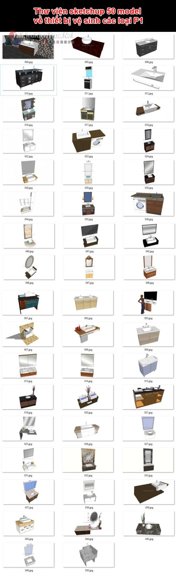 Thư viện sketchup 50 model về thiết bị vệ sinh các loại P1