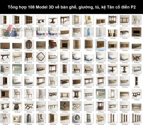 Tổng hợp 108 Model 3D về bàn ghế, giường, tủ, kệ Tân cổ điển P2