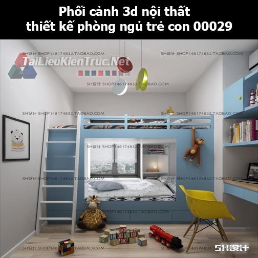 Phối cảnh 3d nội thất thiết kế phòng ngủ trẻ con 00029