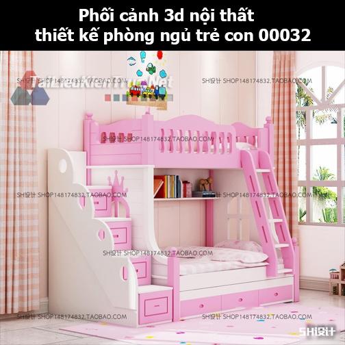 Phối cảnh 3d nội thất thiết kế phòng ngủ trẻ con 00032