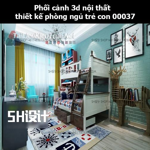 Phối cảnh 3d nội thất thiết kế phòng ngủ trẻ con 00037