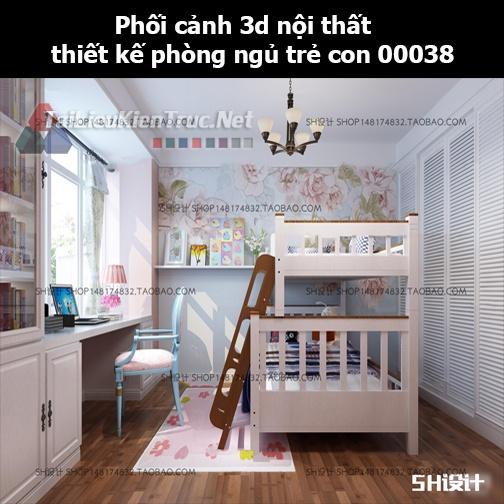 Phối cảnh 3d nội thất thiết kế phòng ngủ trẻ con 00038