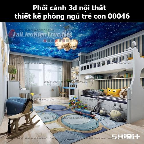Phối cảnh 3d nội thất thiết kế phòng ngủ trẻ con 00046
