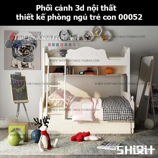 Phối cảnh 3d nội thất thiết kế phòng ngủ trẻ con 00052