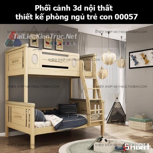 Phối cảnh 3d nội thất thiết kế phòng ngủ trẻ con 00057