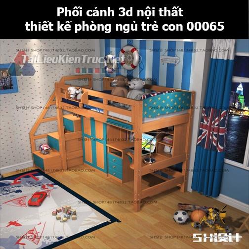 Phối cảnh 3d nội thất thiết kế phòng ngủ trẻ con 00065