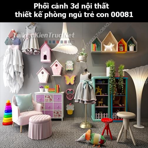 Phối cảnh 3d nội thất thiết kế phòng ngủ trẻ con 00081