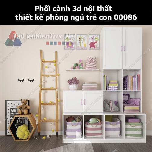 Phối cảnh 3d nội thất thiết kế phòng ngủ trẻ con 00086
