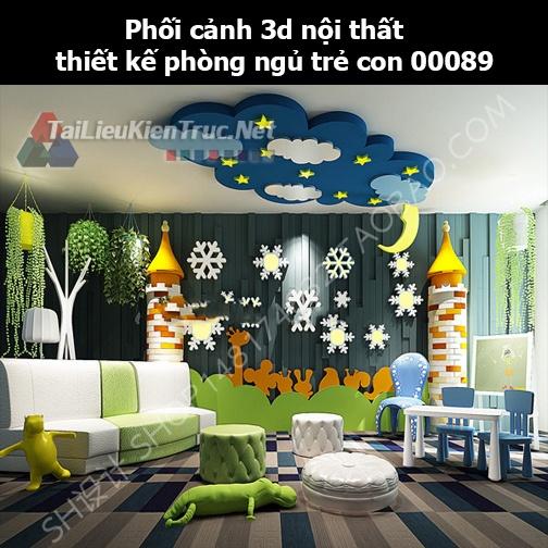 Phối cảnh 3d nội thất thiết kế phòng ngủ trẻ con 00089