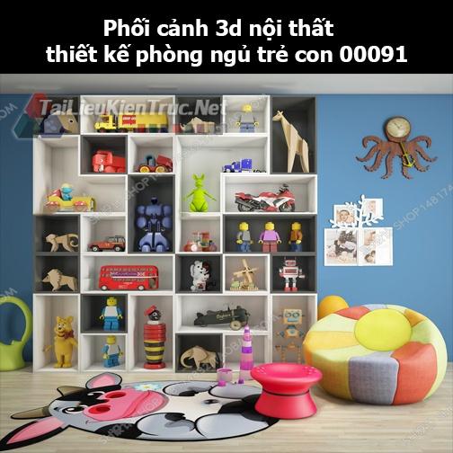 Phối cảnh 3d nội thất thiết kế phòng ngủ trẻ con 00091