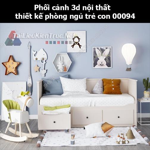 Phối cảnh 3d nội thất thiết kế phòng ngủ trẻ con 00094