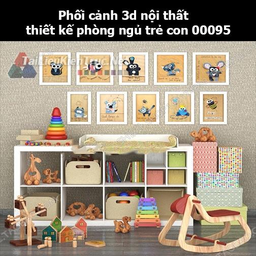 Phối cảnh 3d nội thất thiết kế phòng ngủ trẻ con 00095