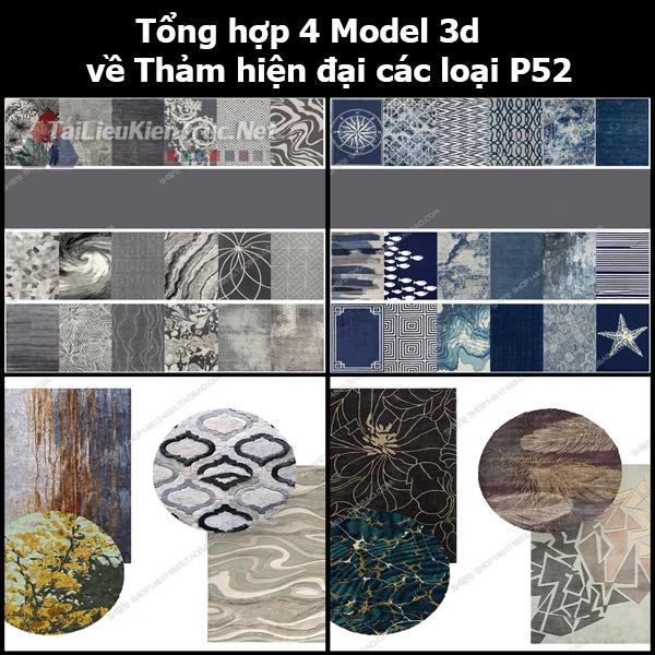 Tổng hợp 04 Model 3d về Thảm hiện đại các loại p52