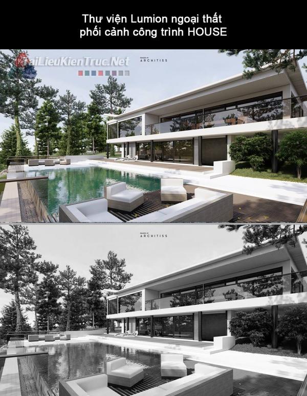 Thư viện Lumion ngoại thất phối cảnh công trình HOUSE