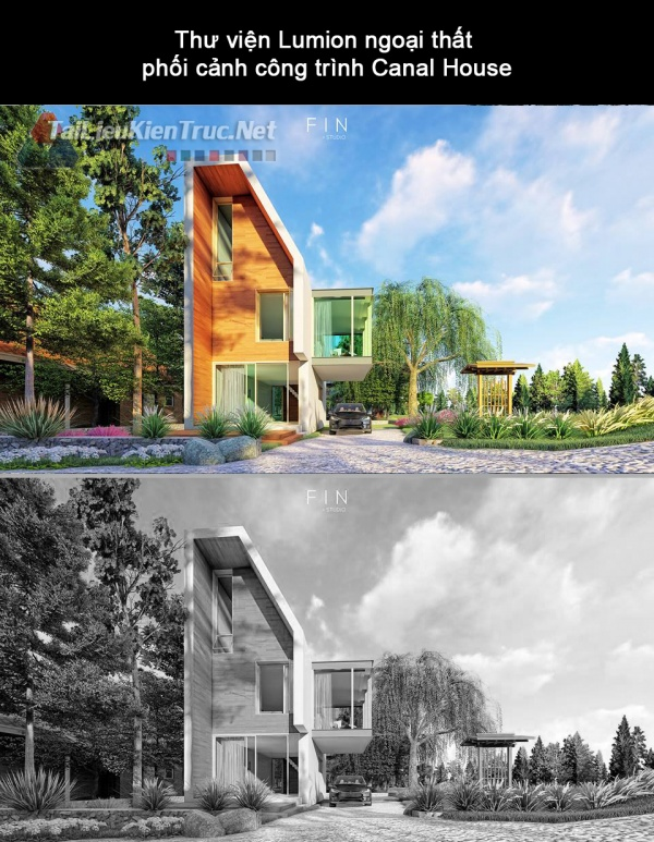 Thư viện Lumion ngoại thất phối cảnh công trình Canal House