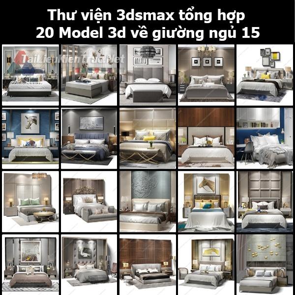 Thư viện 3dsmax tổng hợp 20 Model 3d về Giường ngủ 15