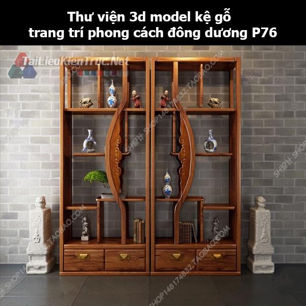 Thư viện 3d model kệ gỗ trang trí phong cách đông dương P76
