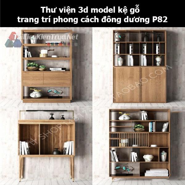 Thư viện 3d model kệ gỗ trang trí phong cách đông dương P82