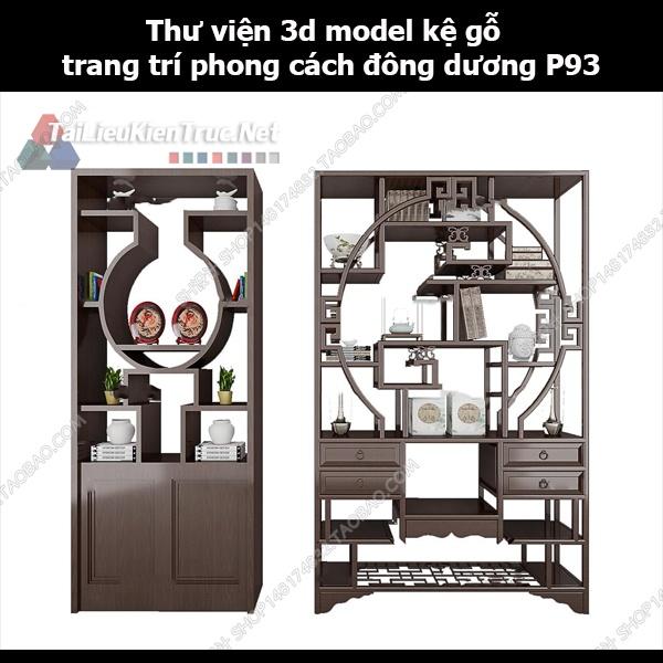 Thư viện 3d model kệ gỗ trang trí phong cách đông dương P93