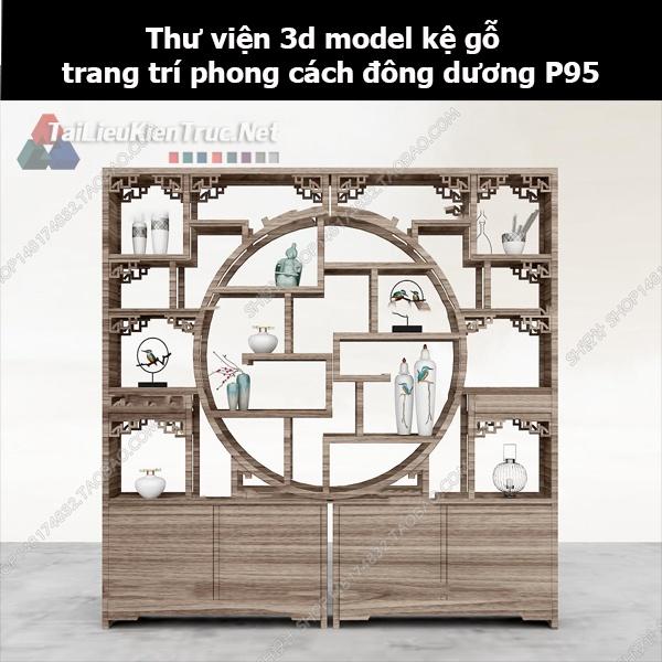 Thư viện 3d model kệ gỗ trang trí phong cách đông dương P95