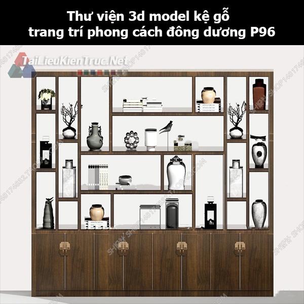 Thư viện 3d model kệ gỗ trang trí phong cách đông dương P96