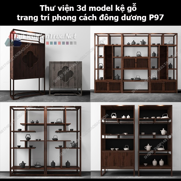 Thư viện 3d model kệ gỗ trang trí phong cách đông dương P97