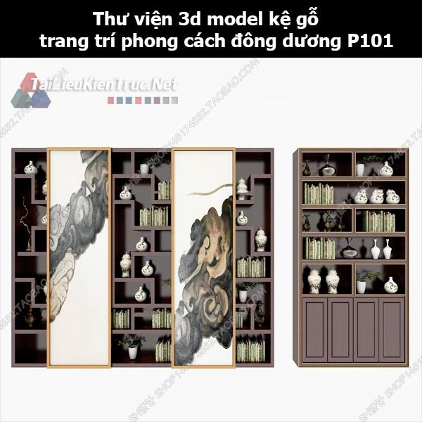 Thư viện 3d model kệ gỗ trang trí phong cách đông dương P101
