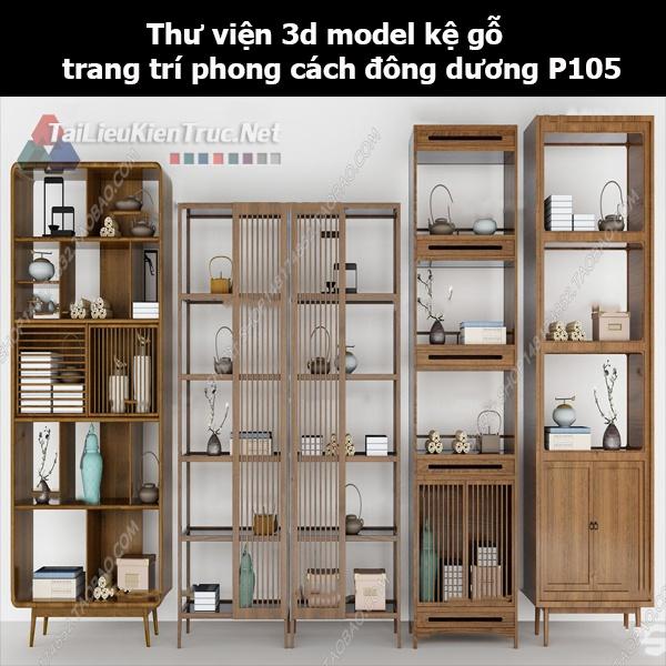 Thư viện 3d model kệ gỗ trang trí phong cách đông dương P105