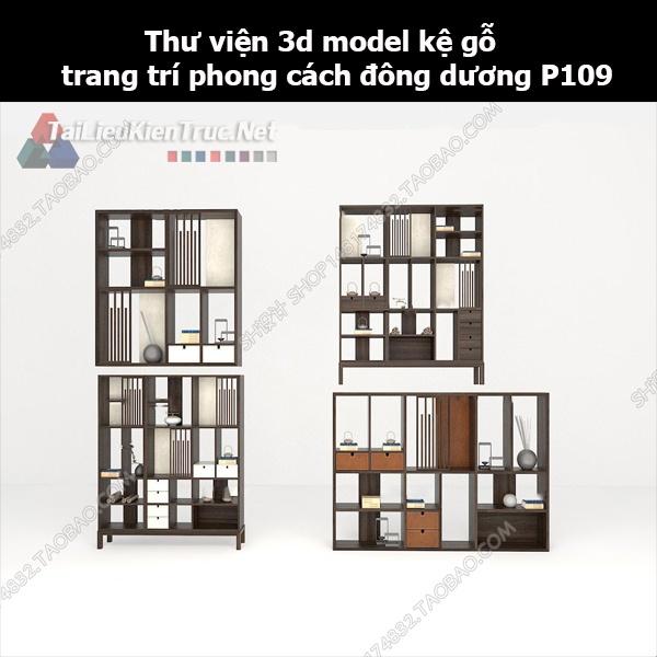 Thư viện 3d model kệ gỗ trang trí phong cách đông dương P109