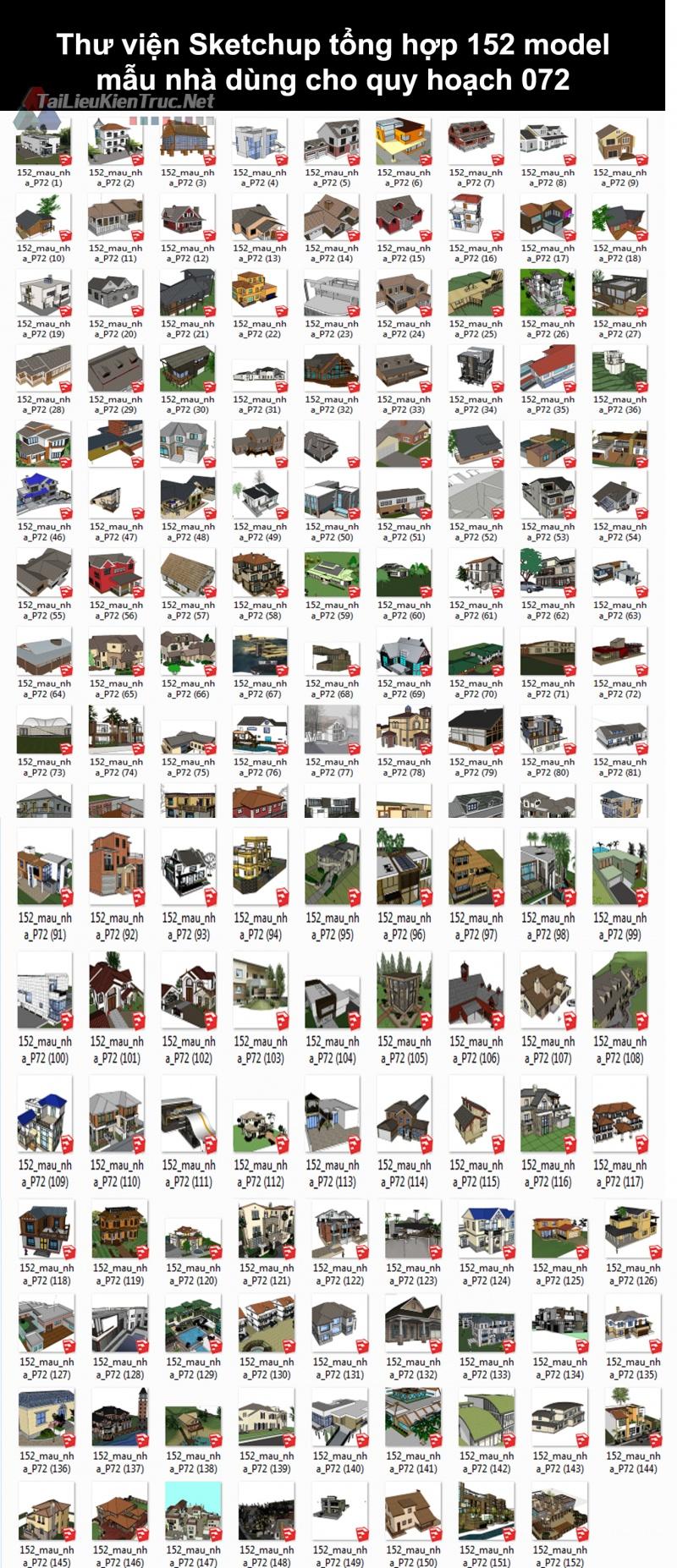 Thư viện Sketchup tổng hợp 152 Model mẫu nhà dùng cho quy hoạch 072