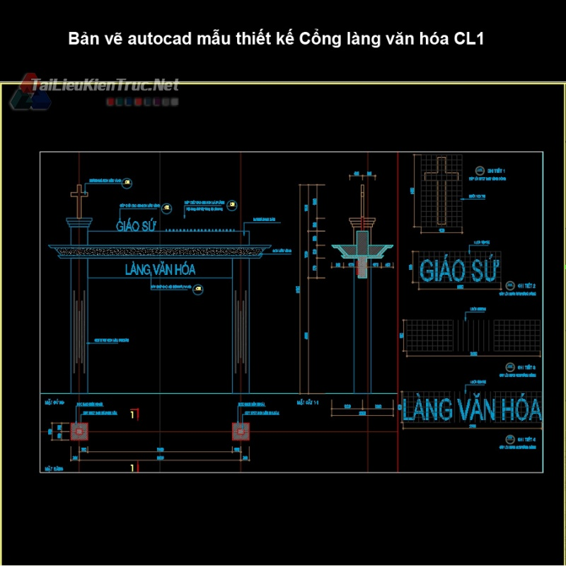 Bản vẽ autocad mẫu thiết kế Cổng làng văn hóa CL1