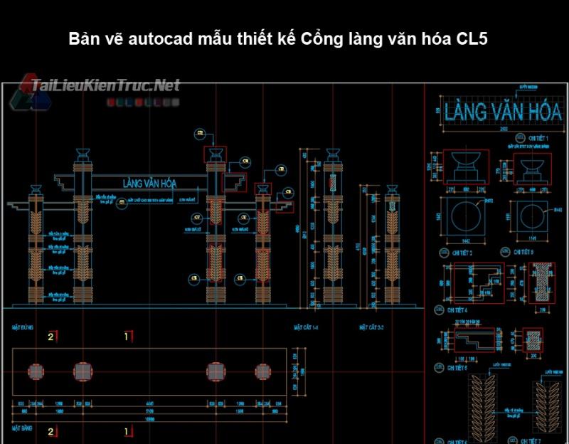 Bản vẽ autocad mẫu thiết kế Cổng làng văn hóa CL5
