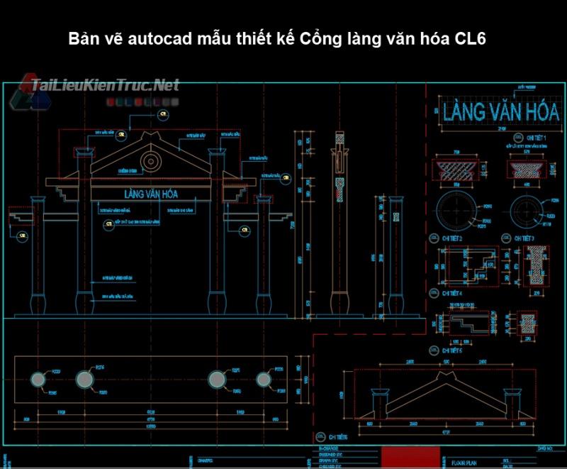 Bản vẽ autocad mẫu thiết kế Cổng làng văn hóa CL6