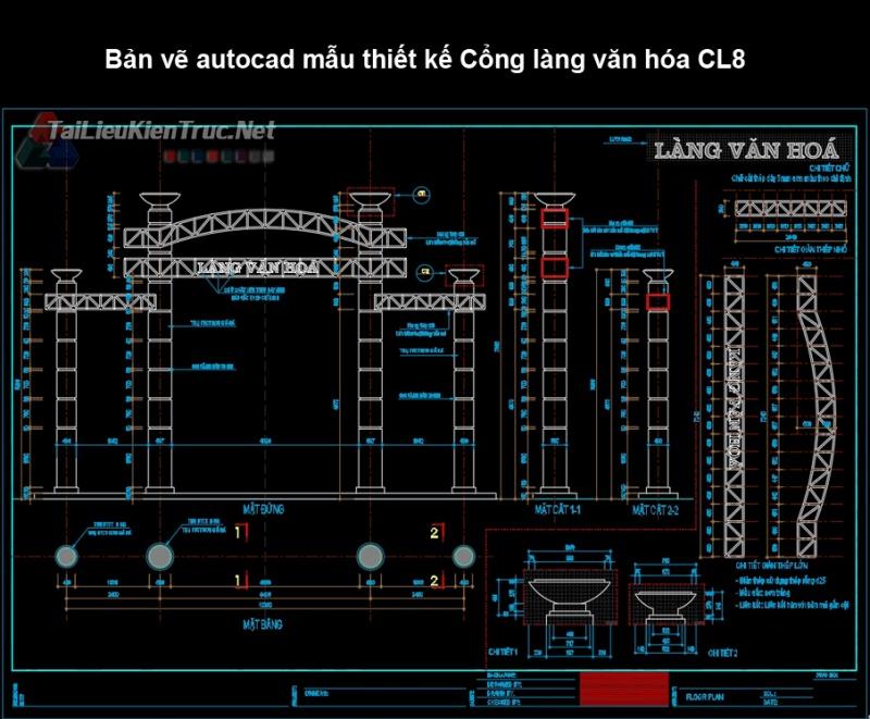 Bản vẽ autocad mẫu thiết kế Cổng làng văn hóa CL8