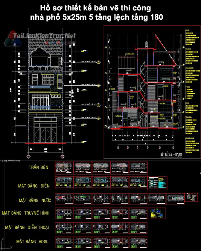 Hồ sơ thiết kế bản vẽ thi công nhà phố 5x25m 5 tầng lệch tầng 180