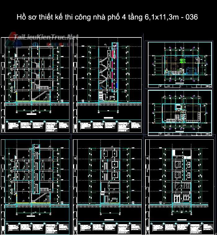 Hồ sơ thiết kế thi công nhà phố 4 tầng 6,1x11,3m - 036