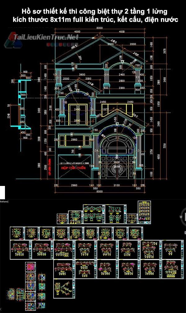 Hồ sơ thiết kế thi công biệt thự 2 tầng 1 lửng kích thước 8x11m 0165 full kiến trúc, kết cấu, điện nước